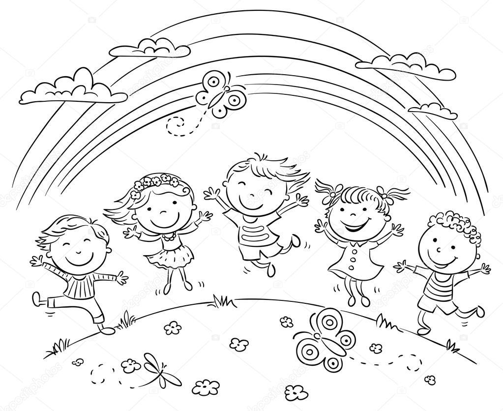 Imágenes Ninos Saltando De Alegria Para Colorear Niños Saltando