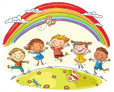 Kids jumping with joy on a hill under rainbow, colorful cartoon stock vector