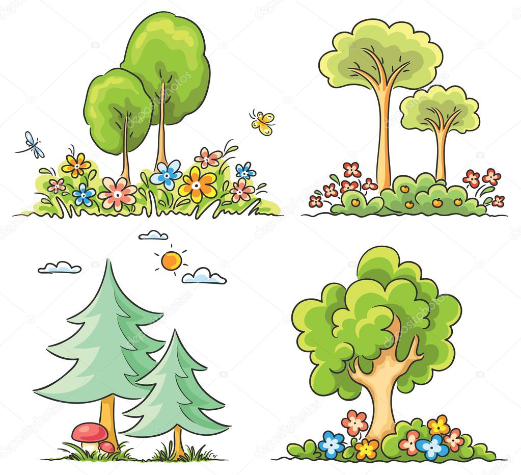 Rboles de dibujos animados con flores vector de stock for Arboles plantas y flores