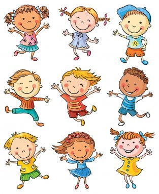 Nine happy kids dancing or jumping with joy, no gradients, isolated stock vector