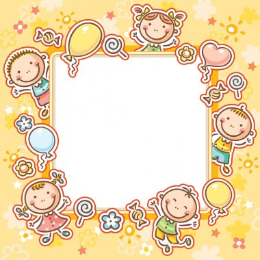 Kids Frame with Sweets and Balloons