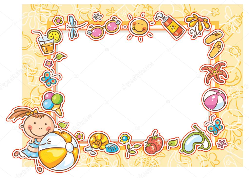 Square Summer Frame with a Little Girl — Stock Vector © Katerina_Dav ...