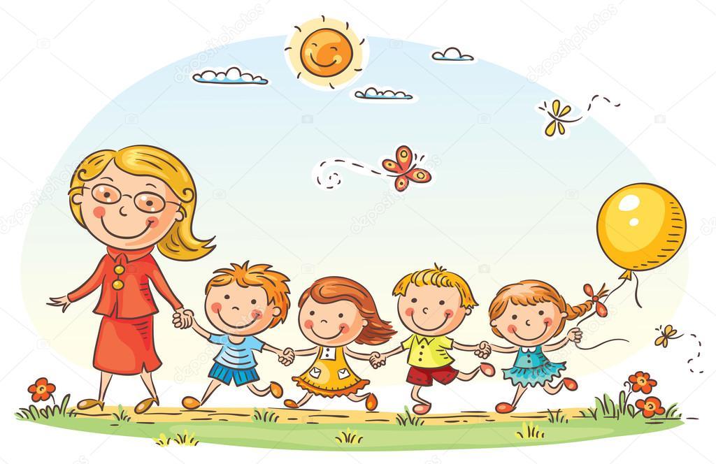 Dibujos: maestras | Dibujos animados de los niños y su maestra al ...
