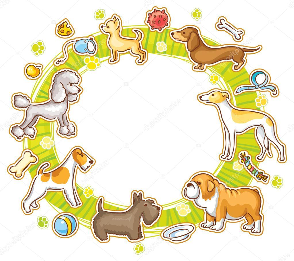 Marco redondo con dibujos animados perros — Archivo Imágenes ...
