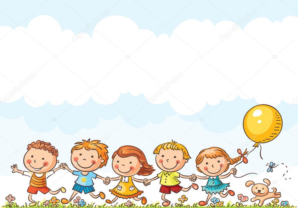 Happy Kids Running Outdoors