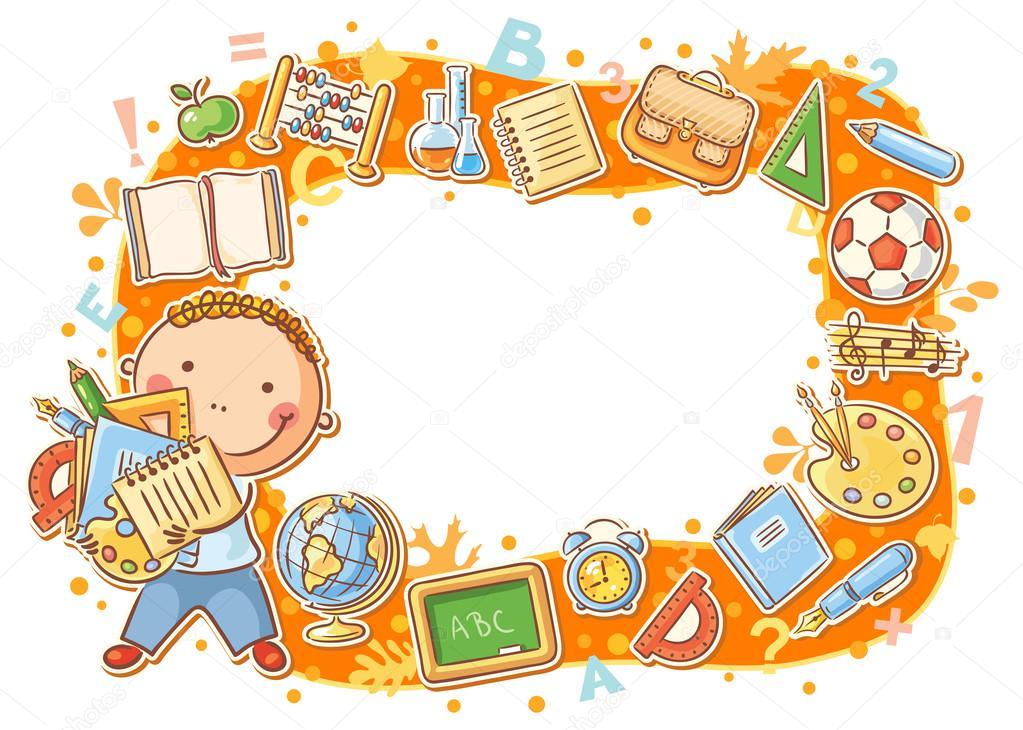 Marco de dibujos animados con objetos de la escuela — Vector de ...