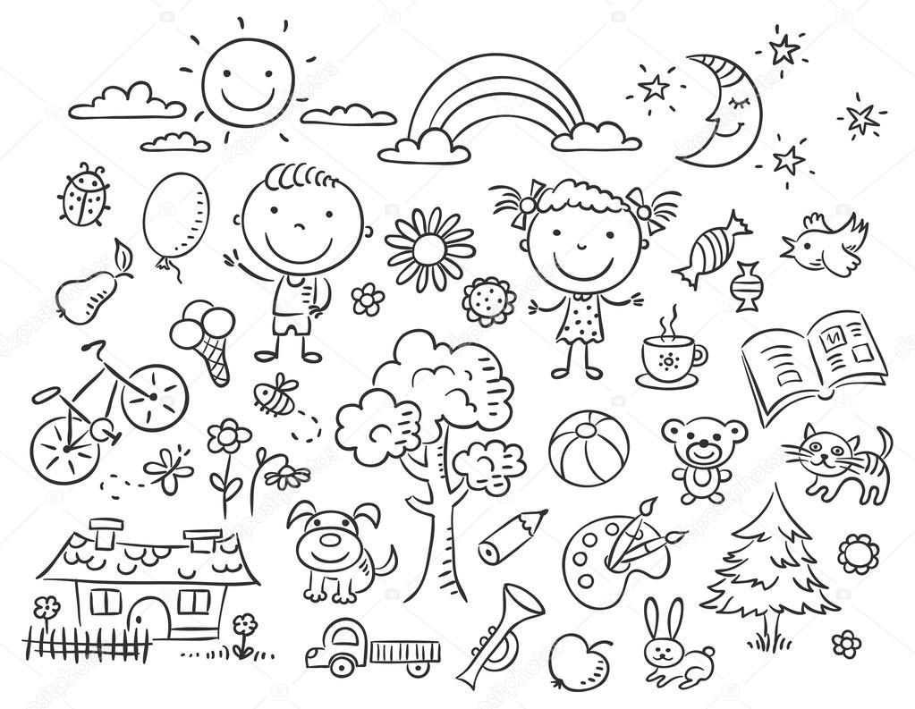 рисунки черно-белые детские