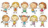 Deset dětí šťastný karikatura