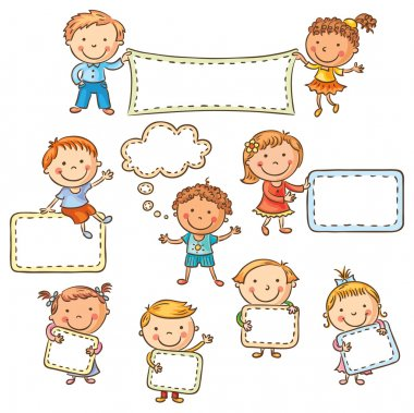 Little cartoon kids with blank signs, no gradients stock vector