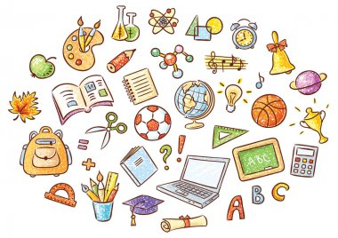 Set of simple cartoon school things colored in a doodle style pencil imitation, no gradients clip art vector