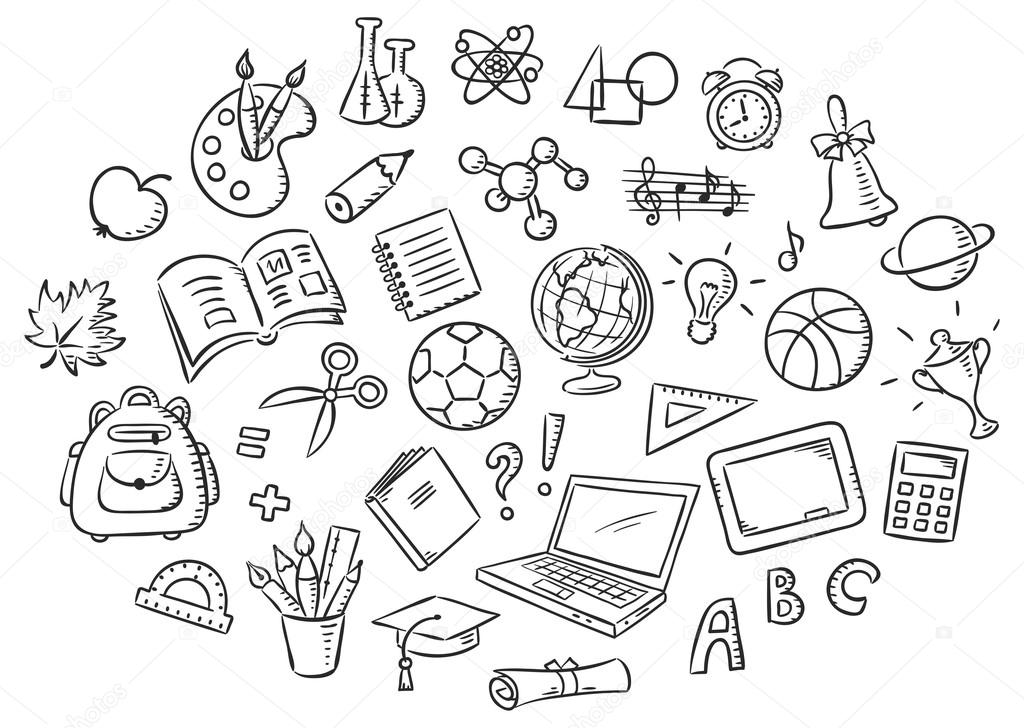Set of Simple Cartoon School Things, Black and White ...