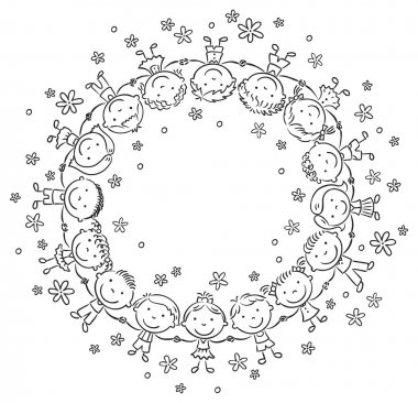 Happy Kids in a Circle, Outline