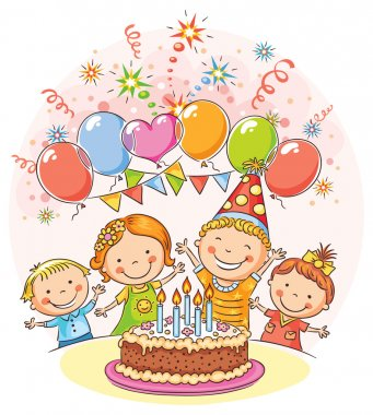 Kids birthday party with a big cake and colorful balloons, no gradients clip art vector