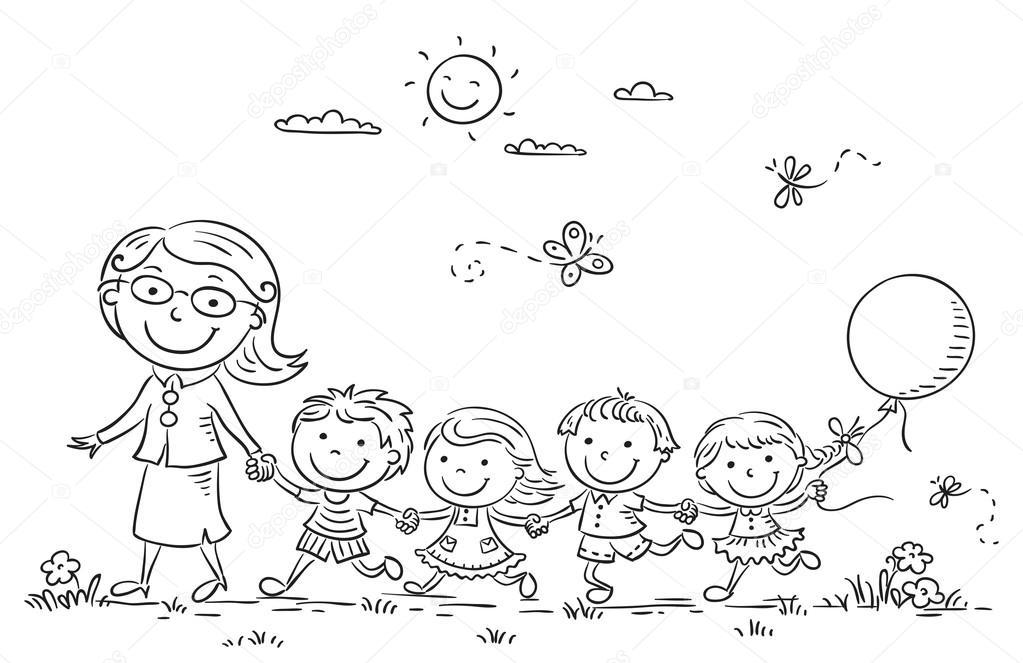 Dibujos animados de los niños y su maestra al aire libre, contorno ...