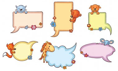 Speech Bubbles with Cartoon Animals