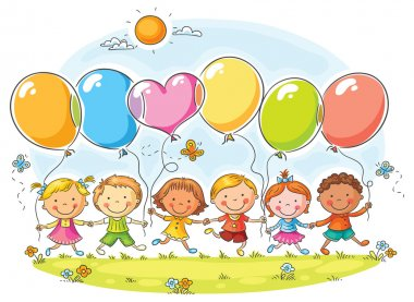 Happy kids outdoors with balloons with copy space, no gradients clip art vector