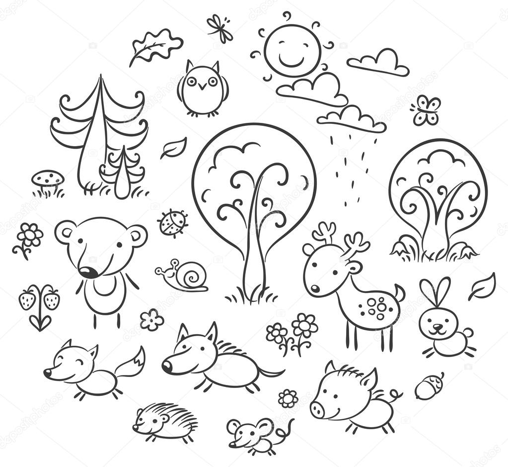 Cartoon Forest Set, Black and White