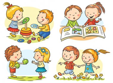 Set of four cartoon illustrations with kids' communication and common activities, no gradients stock vector