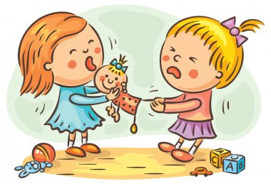 Two little girls are fighting in the playroom because of a doll stock vector