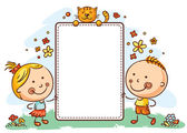 Cartoon kids with a frame with copy space