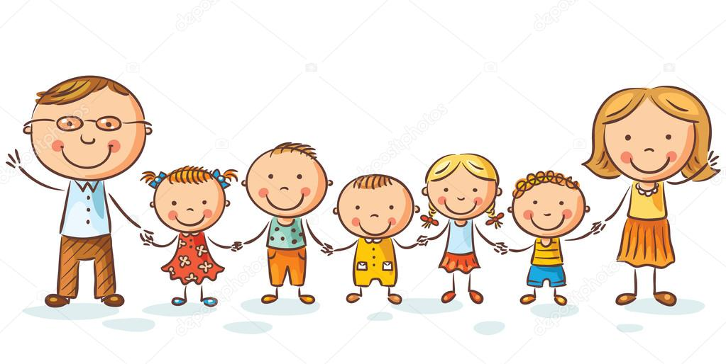 Happy family with many children