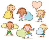 Děti s prázdné znaky v podobě srdce
