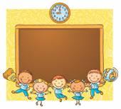 Fotografie šťastný schoolkids s tabulí