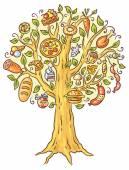 Fotografia Illustrazione del fumetto di un sacco di ready-made food che cresce sullalbero