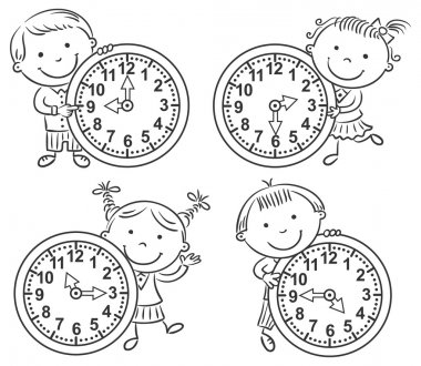 Little kids telling time set