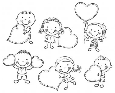 Cartoon kids with blank signs in the form of hearts