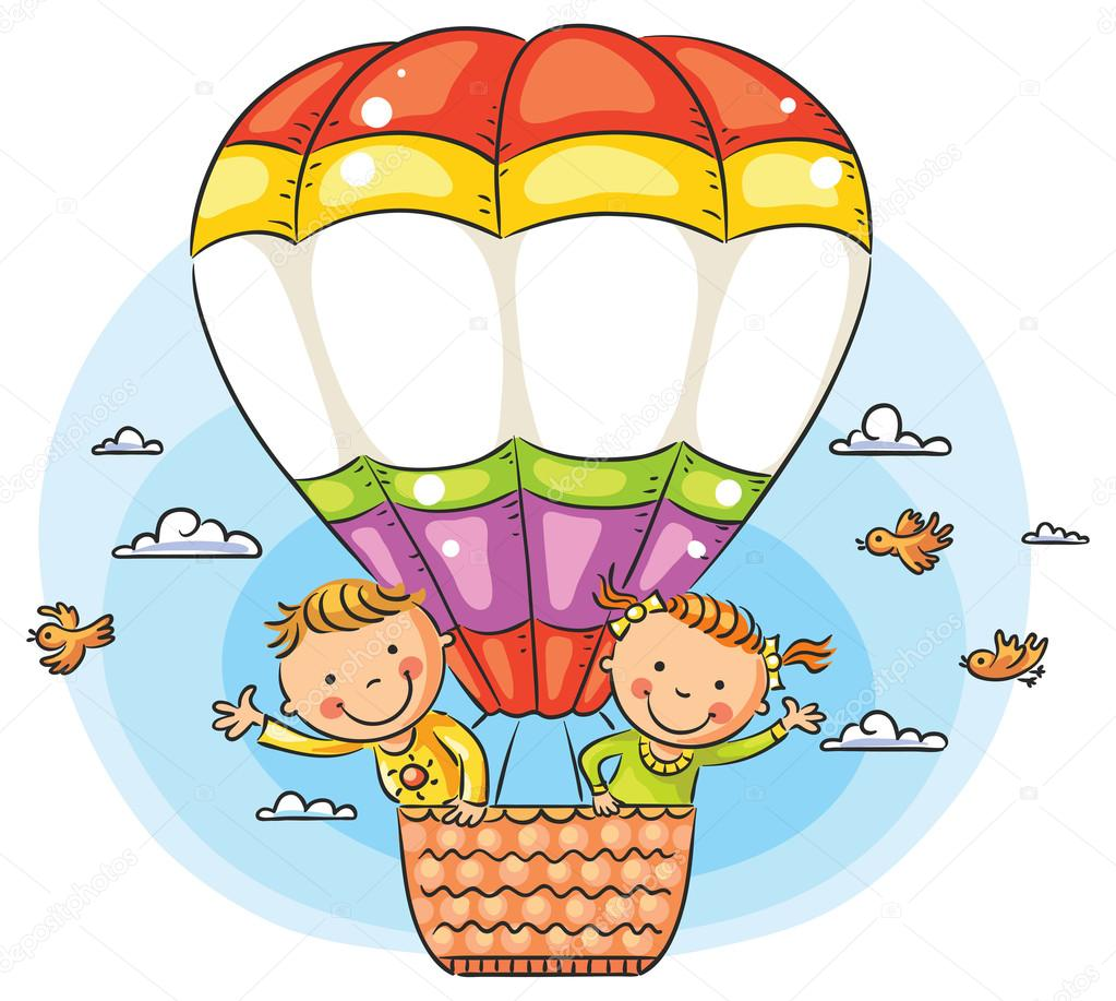 Cartoon kids travelling by air with copy space across the balloon