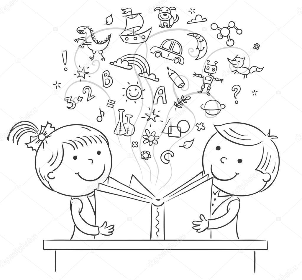 Niños leyendo un libro juntos — Vector de stock #84387176 ...