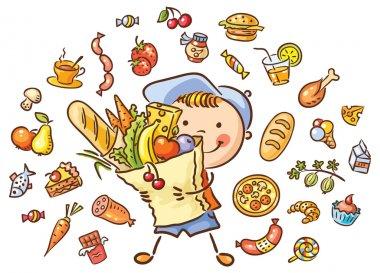 """Картина, постер, плакат, фотообои """"Ребенок с большой мешок, полный продовольствия и изолированные набор"""", артикул 85094292"""