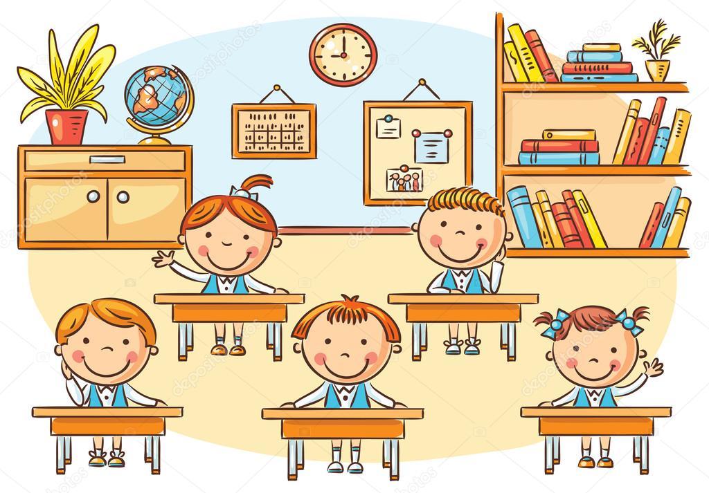 Chevreaux de dessin anim dans la salle de classe la - Dessin classe ...