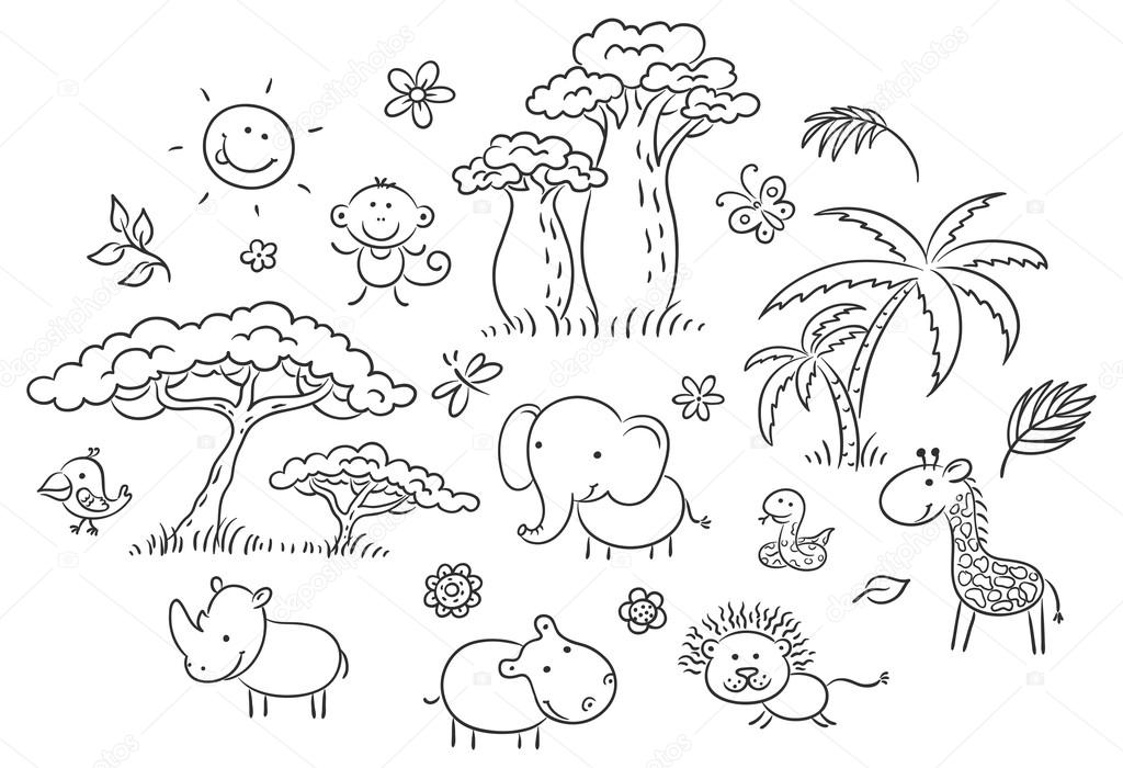 Conjunto de dibujos animados animales africanos exóticos y plantas ...