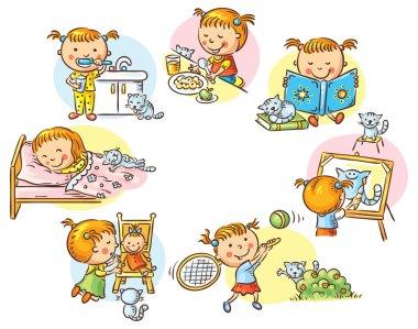 Little girl's daily activities