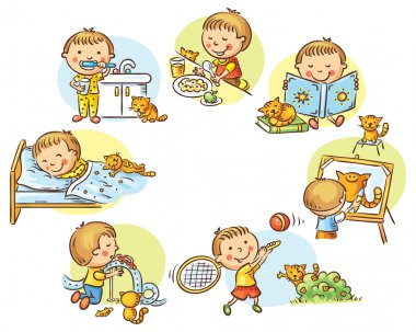 Little boy's daily activities