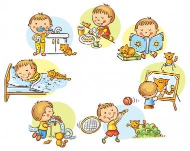 Little boy's daily activities, no gradients stock vector