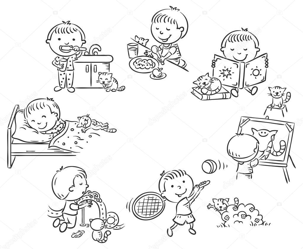 Dibujos Niños Haciendo Actividades Cotidianas Actividades Diarias