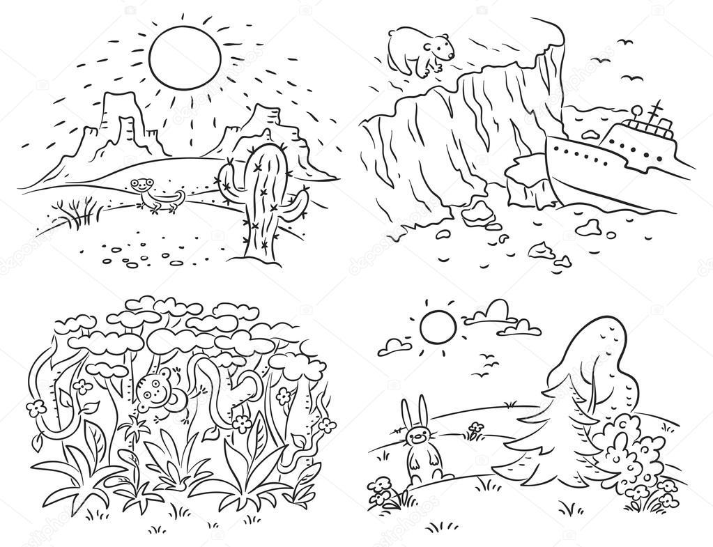 Dibujos Desiertos En Blanco Y Negro Conjunto De Cuatro Diferentes