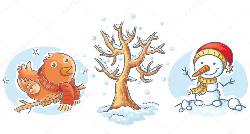 Hiver Dessin ensemble des éléments de dessin animé hiver - bonhomme de neige, des