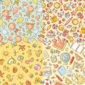 Fotografie Nahtlose bunte Mustersatz mit Süßigkeiten, Sommer, Kinder, Schule-Dinge