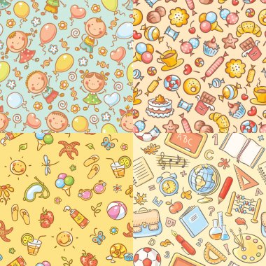 Set of seamless colorful patterns with kids, sweets, summer, school things