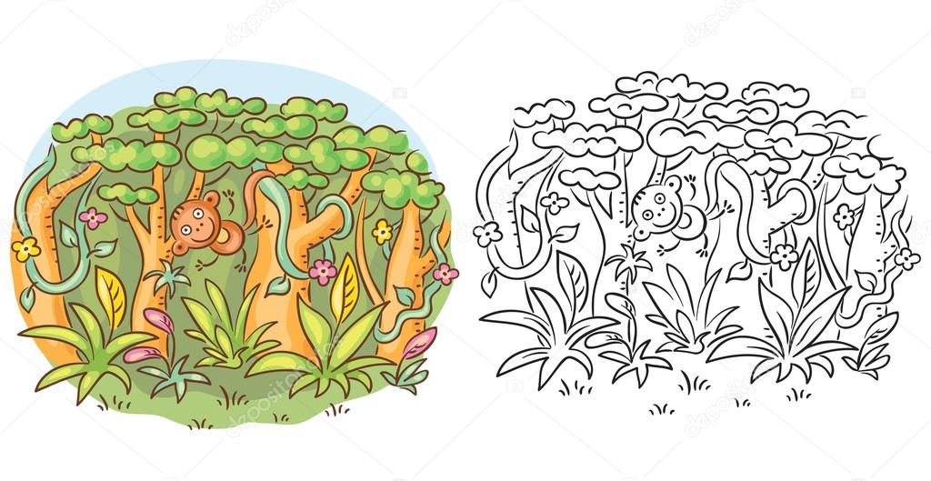 Happy cartoon monkey in the jungle, cartoon drawing, both colored and black and white