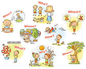 Question words in cartoon pictures, visual aid for language learning