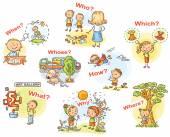 Fragewörter in Cartoon Bilder, visuelle Hilfsmittel für das Fremdsprachenlernen