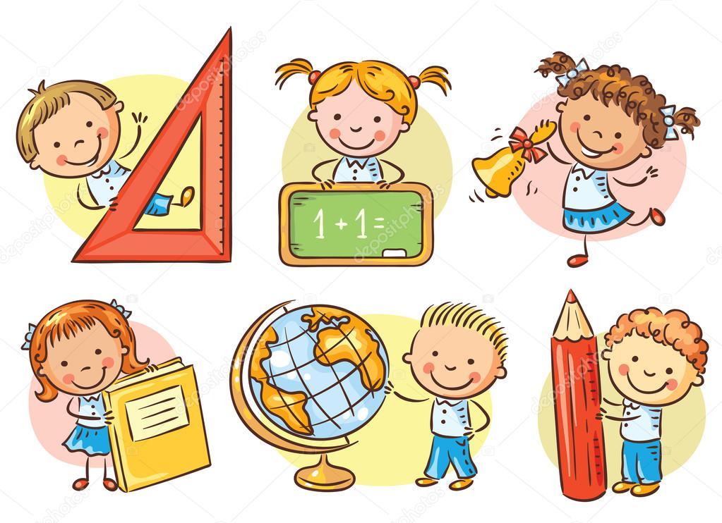 Conjunto De Niños De La Escuela De Dibujos Animados