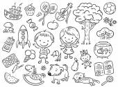 Doodle sada objektů ze života dítěte