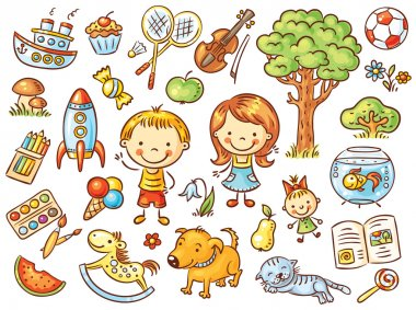 Colorful doodle set of objects from a child's life