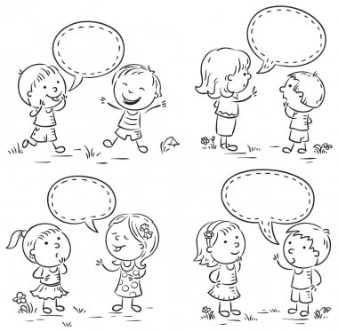 Kids talking and showing different emotions, set of four scenes with speech bubbles, black and white outline